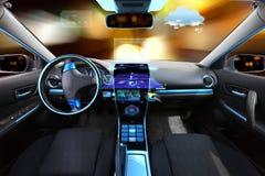 Salón del coche con los sensores del sistema y del meteo de navegación Fotos de archivo
