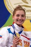 Salnikov杯Ekaterina Lvova的青铜色奖章获得者 免版税库存照片