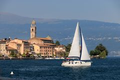 Free Salo At Lake Garda, Italy With A Boat Crossing Stock Photography - 113175502