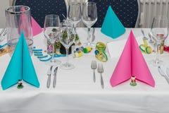 Salão festivo do banquete do ajuste da tabela Foto de Stock