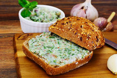 Salo, Pork with Garlic, Dill and Multi Grain Bread Stock Photos
