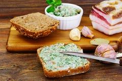 Salo, Pork with Garlic, Dill and Multi Grain Bread Stock Image