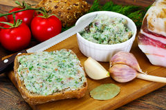 Salo, Pork with Garlic, Dill and Multi Grain Bread Stock Photo