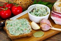 Salo, Pork with Garlic, Dill and Multi Grain Bread Stock Photo