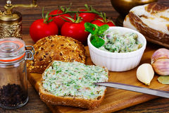 Salo, Pork with Garlic, Dill and Multi Grain Bread Royalty Free Stock Photography