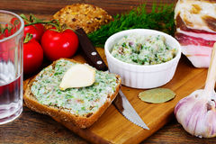 Salo, Pork with Garlic, Dill and Multi Grain Bread Royalty Free Stock Photos