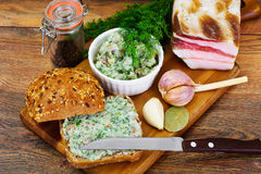 Salo, Pork with Garlic, Dill and Multi Grain Bread Stock Photography