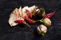 Salo with spices,garlic  and red pepper Stock Photography