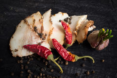 Salo with spices,garlic  and red pepper Royalty Free Stock Photography