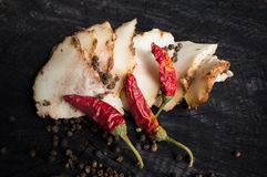 Salo with spices and red pepper Stock Images