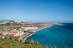 Salobrena, Costa Tropical, Granada, vista litoral fotos de stock royalty free