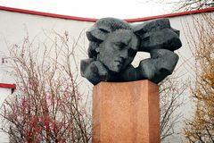 Salomeja Neris monument in Vilnius city at winter time Royalty Free Stock Photo