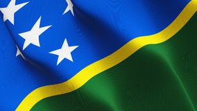 Salomon Islands flag waving on wind. Salomon Islands background fullscreen flag blowing on wind. Realistic fabric texture on windy day Royalty Free Stock Photography