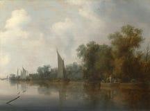 Salomon van Ruysdael - une rivière avec des pêcheurs dessinant un filet illustration stock