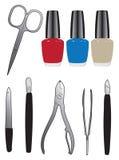Salon 01. A set of tools and nail polish. Vector illustration Royalty Free Stock Photos