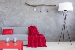 Salon ascétique avec le sofa et deux tasses sur la table photo stock