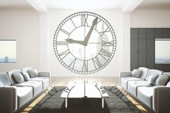 Salon avec la fenêtre d'horloge illustration stock