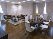 Salon avec la table de salle à manger dans la conception d'art déco Photos stock