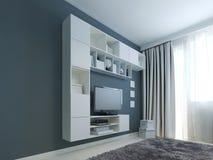 Salon avec la tendance de coffret de mur Photo stock