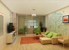 Salon avec la vue de paysage, intérieur 3D Image libre de droits