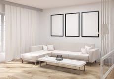 Salon avec le côté de cadres illustration de vecteur