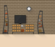 Salon avec le mur de briques 3 Photographie stock