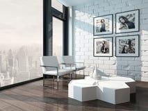 Salon avec le mur de briques et les chaises blancs illustration libre de droits