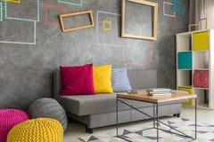 Salon avec les cadres carrés Photos libres de droits