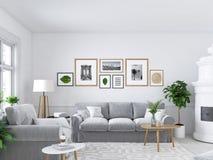 Salon avec les cadres de tableau et la cheminée rendu 3d photographie stock