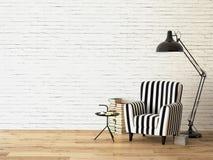 Salon avec un fauteuil et les livres, 3d Photos libres de droits