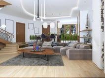 Salon avec un grand sofa faisant le coin d'un tissu dans un Contempo Image stock