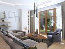 Salon avec un grand sofa faisant le coin d'un tissu dans un Contempo Photographie stock