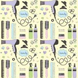 Salon beauty care seamless pattern. Colored hand drawn set of hair styling. Hair dryer, hairbrushes, sprays, scrunchy. Doodle style sketch vector items for royalty free illustration