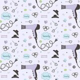 Salon beauty care seamless pattern. Cute hand drawn set of hair styling. Hair dryer, scrunchy, hairgrips, hair. Accessories. Doodle style sketch vector items stock illustration