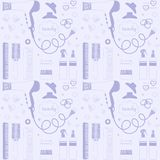 Salon beauty care seamless pattern. Hand drawn set of hair styling. Hair dryer, hairbrushes, sprays, scrunchy. Doodle. Style sketch vector items for background vector illustration
