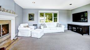 Salon bleu-clair avec le sofa et la cheminée blancs Photographie stock libre de droits
