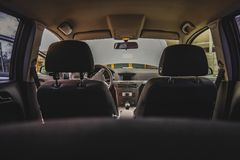 Salon of a car, parts from leather and plastic. Summer stock photography