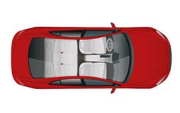 Salon Car sedan view from above, vector illustration. Compact Hybrid Vehicle. Eco-friendly hi-tech auto. Easy color change vector illustration