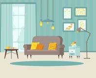 Salon confortable avec le sofa, la table de chevet avec des livres, les affiches sur le mur et le papier peint rayé, lampe, fenêt illustration de vecteur