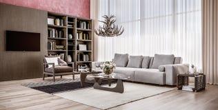 Salon confortable moderne de l'espace ouvert avec à haut plafond photo libre de droits
