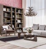 Salon confortable moderne de l'espace ouvert avec à haut plafond photographie stock