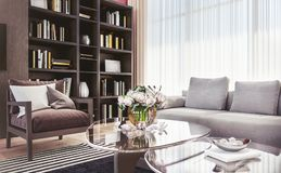 Salon confortable moderne de l'espace ouvert avec à haut plafond image libre de droits