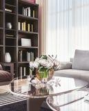Salon confortable moderne de l'espace ouvert avec à haut plafond images stock