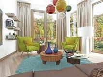 Salon contemporain avec un coin salon avec deux chaises Photographie stock libre de droits