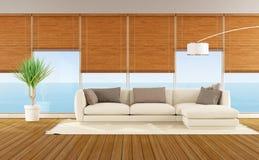 Salon d'une maison de plage Images libres de droits