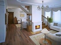 Salon dans le style d'art déco avec la cheminée Photographie stock