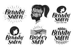 Salon de beauté, ensemble de label Maquillage, logo de raseur-coiffeur Lettrage, illustration de vecteur de calligraphie illustration de vecteur