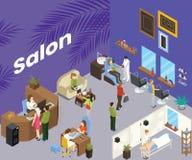 Salon de beauté où les gens obtiennent à coupe de cheveux le concept isométrique d'illustration illustration libre de droits