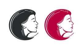 Salon de beauté, station thermale, logo de raseur-coiffeur Bel label ou icône de jeune femme Illustration de vecteur illustration stock