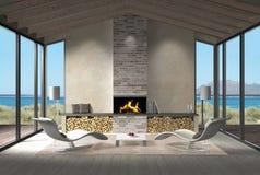 Salon de bord de la mer avec l'endroit du feu dans les dunes illustration de vecteur